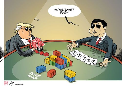Cartoon: Poker fakes (medium) by rodrigo tagged china,economy,usa,trade,war,tariffs,import,export,commerce,technology,poker,politics,international