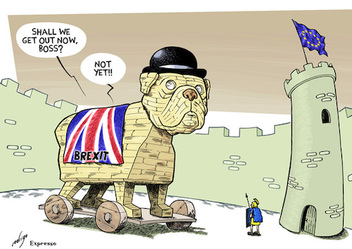 Cartoon: Trojan holds (medium) by rodrigo tagged brexit,united,kingdom,uk,eu,europe,politics,international,economy,election,referendum,vote