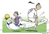 Cartoon: Messianic contest (small) by rodrigo tagged messi,football,cristiano,ronaldo,barcelona,real,madrid,argentina,portugal,soccer,ballon,dor