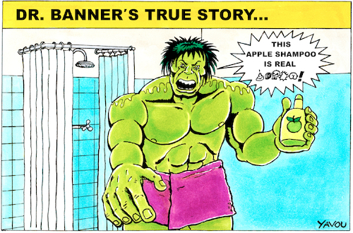 Cartoon: Hulk (medium) by Yavou tagged the,incredible,hulk,yavou,cartoon,hommage,marvel,dr,banner,apple,shampoo,angry,the,incredible,hulk,yavou,cartoon,hommage,marvel,dr,banner,apple,shampoo,angry