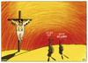 Cartoon: ES LEBT! (small) by Yavou tagged elvis,aaron,presley,the,king,jesus,yavou,kreuzigung,crucifixion,kreuz,gekreuzigt,hasen,kaninchen,rabbit,cartoon,desert,wüste