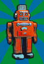 Cartoon: RED TIN ROBOT (small) by zellaby tagged tin robot zellaby collage toy