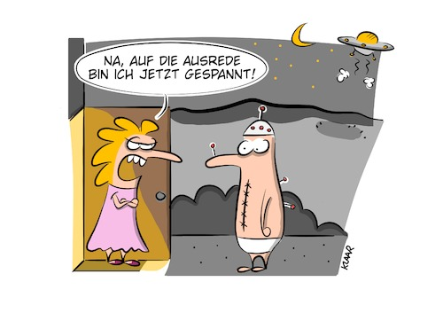 Cartoon: Ausrede (medium) by klaartoons tagged ufo,alien,mann,frau,beziehung