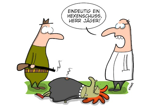Cartoon: Diagnose (medium) by ALLES KLAAR tagged hexe,hexenschuss,arzt,patient,kasse,krank