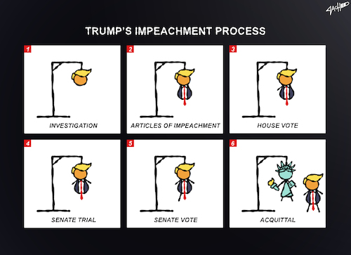 Cartoon: Impeachment Process (medium) by cartoonistzach tagged politics,trump,donald,president,election,impeachment,acquittal,us,democracy,hangman,politics,trump,donald,president,election,impeachment,acquittal,us,democracy,hangman