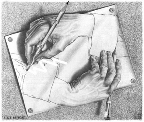 Cartoon: hands (medium) by tanerbey tagged eraser,pencil,hands,escher
