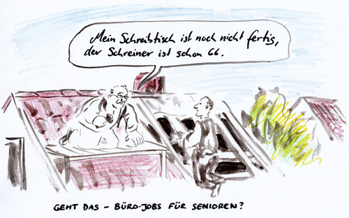 Cartoon: Dachdecker (medium) by Bernd Zeller tagged bürojobs,jobs,arbeit,senioren,rente