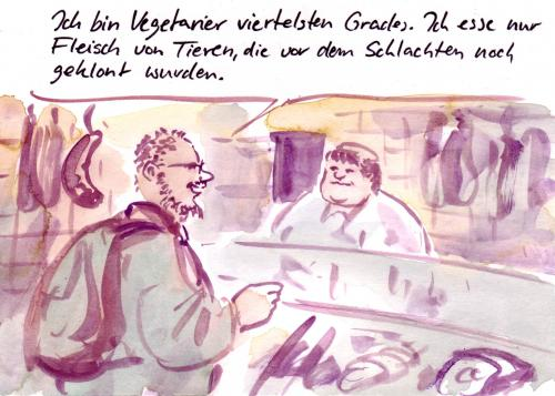 Cartoon: Fleischerei (medium) by Bernd Zeller tagged fleisch,essen,vegetarier,veganer,fleischlos,gentechnik,klonen