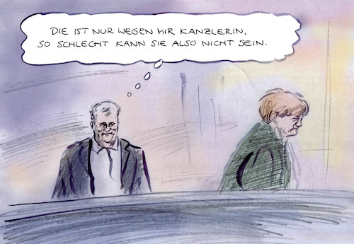 Cartoon: Geeinigt (medium) by Bernd Zeller tagged cdu,csu