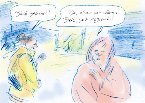 Cartoon: Gruß (medium) by Bernd Zeller tagged virus