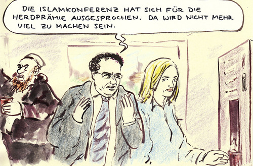 Cartoon: Islamkonferenz (medium) by Bernd Zeller tagged islamkonferenz,herdprämie