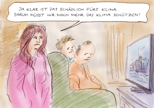 Cartoon: Jugend fordert (medium) by Bernd Zeller tagged klima