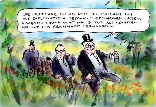 Cartoon: Schwierige Lage (medium) by Bernd Zeller tagged usa