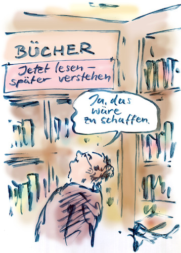 Cartoon: Stoffmenge (medium) by Bernd Zeller tagged bücher