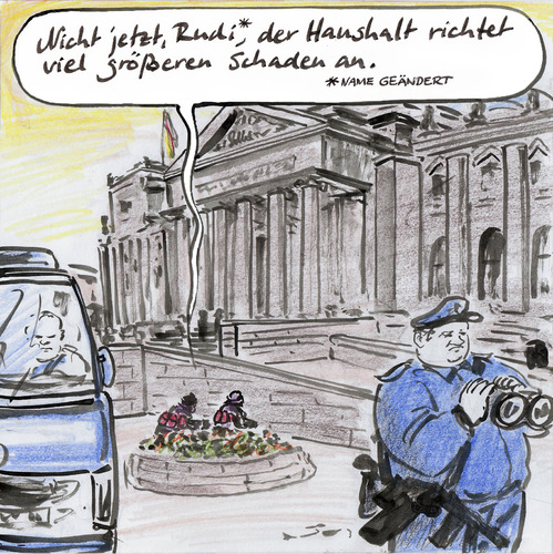 Cartoon: Terrorwarnung (medium) by Bernd Zeller tagged haushaltsberatung,terrorwarnung