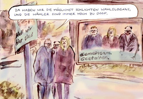 Cartoon: Wahlkampfparadoxon (medium) by Bernd Zeller tagged wahlplakate