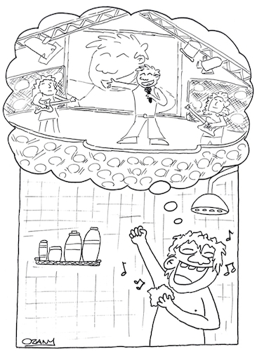 Cartoon: Concert in the shower (medium) by ozanootrac tagged shower,singer,song,happiness,happy,concert,shampoo,water,dream,imagination