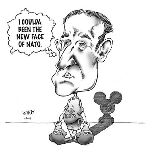 Cartoon: Mckay strikes out with NATO. (medium) by wyattsworld tagged nato,politics,mckay,canada