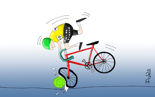 Cartoon: Tour de France vor Absage (medium) by Fish tagged tour,de,france,radrennen,rennrad,radrennfahrer,absage,corona,covid,19,epidemie,seuche,pandemie,fishwettkamp,uci