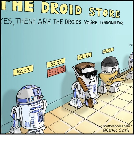 Cartoon: Droid Store (medium) by noodles tagged star,wars,droids,r2d2,u2,terminator,noodles