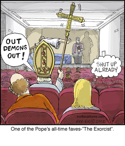 Cartoon: The Exorcist (medium) by noodles tagged movies,pope,exorcist,noodles