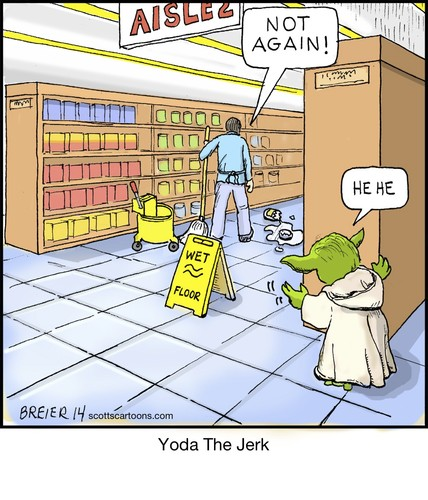 Cartoon: Yoda The Jerk (medium) by noodles tagged yoda,star,wars,jerk,mop,grocery,store