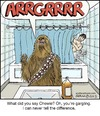 Cartoon: Chewie (small) by noodles tagged star,wars,bathroom,shower,gargling,hans,solo,mouth,wash