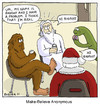 Cartoon: My Name Is Bigfoot (small) by noodles tagged religion,support,groups,santa,loch,ness,monster,god,donuts