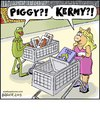 Cartoon: Piggy Kermy (small) by noodles tagged muppets,kermit,frog,miss,piggy,bacon,legs,supermarket,surprise