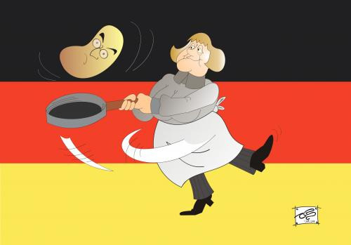 Cartoon: Angela Merkel (medium) by Pinella tagged merkel,steinmeier