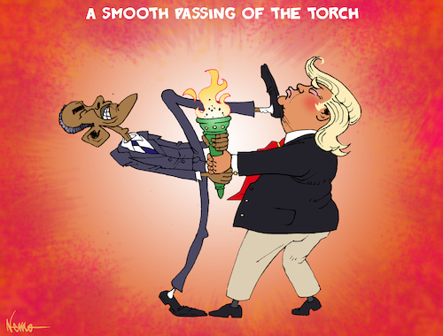 Cartoon: A Smooth Passing of the Torch (medium) by NEM0 tagged obama,trump,us,usa,president,inauguration,protest,riot,chaos,disrupt,j20,leader,leadership,democrat,republican,independent,leftist,nemo,nem0,obama,trump,us,usa,president,inauguration,protest,riot,chaos,disrupt,j20,leader,leadership,democrat,republican,independent,leftist
