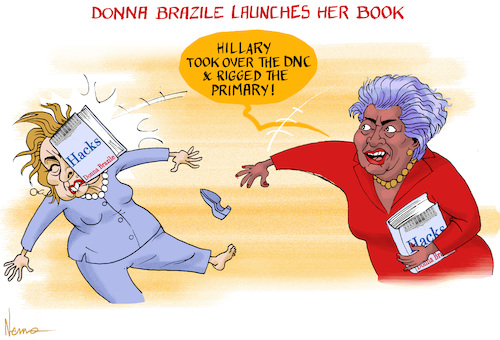 Cartoon: Donna Book Launch (medium) by NEM0 tagged donna,brazile,book,rig,rigged,primary,election,take,over,crooked,hillaryclinton,dnc,collusion,bernie,sanders,wasserman,schultz,presidential,corruption,2016,donna,brazile,book,rig,rigged,primary,election,take,over,crooked,hillaryclinton,dnc,collusion,bernie,sanders,wasserman,schultz,presidential,corruption,2016