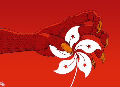 Cartoon: Grasp on Hong Kong (medium) by NEM0 tagged china,beijing,hong,kong,occupy,protests,resistance,dissent,autonomy,umbrella,movement,communist,party,censorship,authoritarian,totalitarian,prc,dictature,extradition,law,justice,freedom,democracy,dragon,grasp,claws,clawing,flower,nemo,nem0,china,beijing,hong,kong,occupy,protests,resistance,dissent,autonomy,umbrella,movement,communist,party,censorship,authoritarian,totalitarian,prc,dictature,extradition,law,justice,freedom,democracy,dragon,grasp,claws,clawing,flower,nemo,nem0