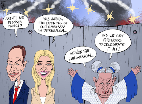 Cartoon: Israel 70 (medium) by NEM0 tagged jerusalem,us,embassy,donald,aniversary,ivanka,trump,jared,kushner,wall,palestine,hamas,two,state,solution,capital,of,israel,riots,benjamin,netanyahu,bibi,tear,gas,fireworks,netta,eurovision,jerusalem,us,embassy,donald,aniversary,ivanka,trump,jared,kushner,wall,palestine,hamas,two,state,solution,capital,of,israel,riots,benjamin,netanyahu,bibi,tear,gas,fireworks,netta,eurovision