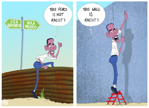 Cartoon: Racist Wall (medium) by NEM0 tagged obama,fence,act,wall,border,mexico,democrat,immigration,migrants,aliens,nemo,nem0,obama,fence,act,wall,border,mexico,democrat,immigration,migrants,aliens,nemo,nem0