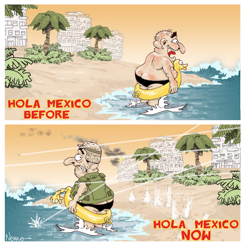 Cartoon: Spring Break in Mexico (medium) by NEM0 tagged beach,hotel,cartel,playa,carteles,droga,drogas,cartels,mexican,riviera,spring,break,vacation,vacations,violence,violencia,narcotrafico,narc,narco,war,on,drugs,nemo,nem0,beach,hotel,cartel,playa,carteles,droga,drogas,cartels,mexican,riviera,spring,break,vacation,vacations,violence,violencia,narcotrafico,narc,narco,war,on,drugs,nemo,nem0