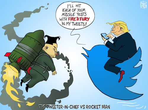 Cartoon: Tweeter in Chief VS Rocket Man (medium) by NEM0 tagged trump,kim,jong,un,north,korea,dpkr,us,usa,twitter,rocketman,fire,fury,trump,kim,jong,un,north,korea,dpkr,us,usa,twitter,rocketman,fire,fury