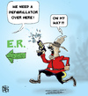 Cartoon: RCMP Taser M.D. (small) by NEM0 tagged canada,canadian,canadians,cardiac,cardiology,cop,cops,electric,gun,secure,security,safe,safety,defibrilator,defibrilators,emergency,urgent,urgency,hospital,police,policeman,policemen,er,room,rcmp,royal,mounted,mountie,mounties,injury,injuries,taser
