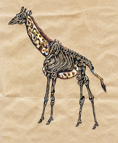 Cartoon: giraffe half dead (medium) by Battlestar tagged giraffe,tiere,animals,skelett,natur,illustration
