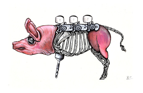 Cartoon: piggy (medium) by Battlestar tagged natur,fiction,surreal,illustration,tiere,animals,schwein,pig