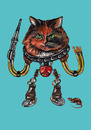 Cartoon: robocat (small) by Battlestar tagged illustration,painting,katze,cat,animals,tiere,fiction