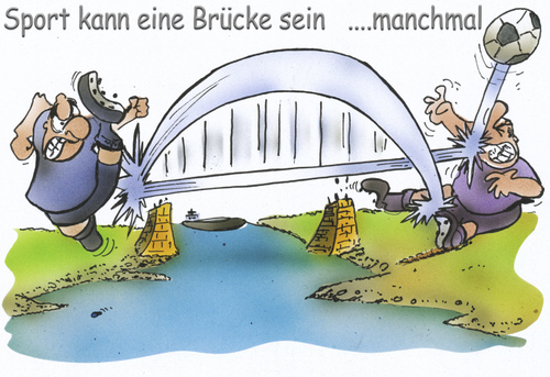 Cartoon: Sport can be a bridge (medium) by HSB-Cartoon tagged brücke,brigde,sport,soccer,fußball,fußballspieler,spieler,goal,player,tor,ball,river,fair,fairness,cartoon,caricature,karikatur,airbrush,fußball