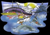 Cartoon: surrounded by ships (small) by HSB-Cartoon tagged ship,boat,navy,sailing,sailingboat,tanker,uboat,runningboat,water,cartoon,caricature,hsb,airbrush