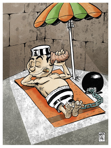 Cartoon: johnny scape in hawaii (medium) by Wadalupe tagged holiday,prison,sun,hawaii,beach,enemy,condemnation