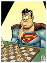 Cartoon: en apuros y sin villano (small) by Wadalupe tagged superman,superheroe,ajedrez,apuros,torneo,acorralado