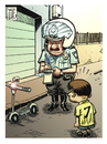 Cartoon: Exceso de celo (small) by Wadalupe tagged policia,trafico,carnet,coche,patinete,calle,multa