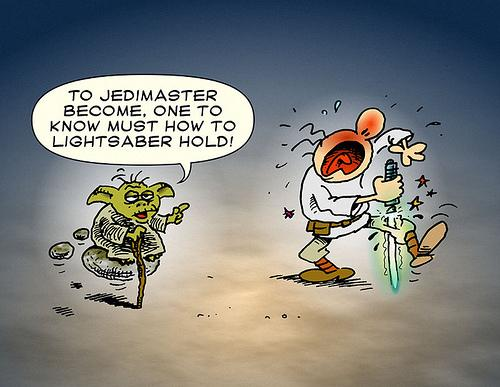 Cartoon: Jedi Master (medium) by gnurf tagged jedi,yoda,lightsaber,starwars