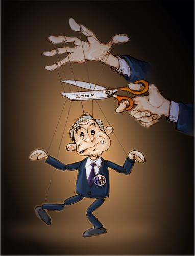 Cartoon: No strings attached (medium) by gnurf tagged bush,puppet,strings,scissors,hands,2009,caricature