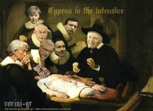 Cartoon: Cyprus in the intensive (medium) by takis vorini tagged vorini