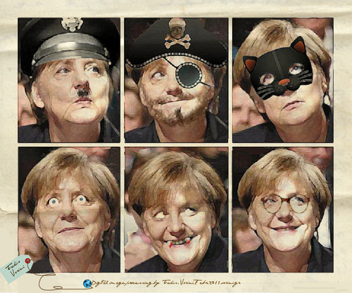 Cartoon: The 6 faces of Angela Merkel (medium) by takis vorini tagged vorini